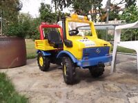 Rolly toys unimog, (mercedes) ride on truck. In rallye teams colours
