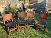 Dining chairs - leather studded in baroque/medieval style x 4