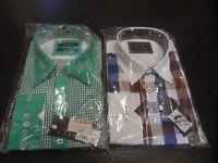 2 x Men's XL Slim Fit Shirts with button fastening cuffs