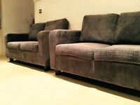 NEW GREY CORD 2 X 2 SOFAS CAN DELIVER FREE BARGAIN