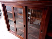 Bookcase/Display cabinet, solid acacia wood with 3 glass sliding doors