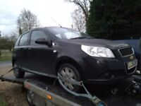 2008 Chevrolet aveo 1.2 petrol black 5 door accident damaged.