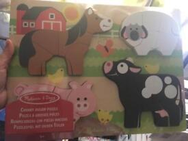 Melissa & Doug chunky farm/zoo jigsaws brand new