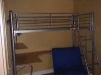 Studio bunk bed/desk (no mattress) and chair/futon bed
