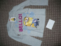 Bundle of 5 Minions & Me To You Tatty Teddy long sleeve grey T-shirts/Tops, girl 7-8 years. Cotton.
