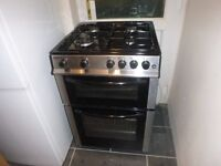 Bush Dual Fuel Twin Cavity AD66TSS Freestanding Cooker Oven Hob Used