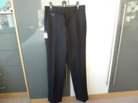 SMALL MENS / TEENAGE BOYS NEW BLACK TROUSERS BY BROOK TAVERNER
