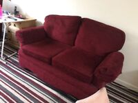 Red material couch and electric chair