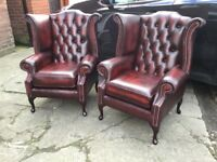 PAIR OF LEATHER CHESTERFIELD QUEEN ANNE CHAIRS OXBLOOD RED IN IMMACULATE CONDITION CAN DELIVER