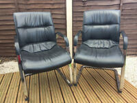 Black Leather Executive Chairs -- 2 Available to Buy