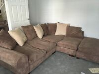 Lovely brown and cream corner sofa