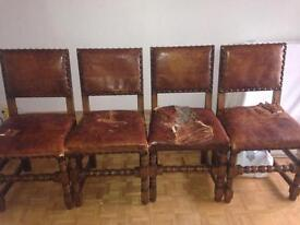 Antique solid oak cromwellian chairs set of 6