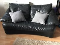 TWO Black leather Sofa's - (can sell separately)