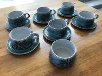 SET OF 6 COFFEE CUPS & SAUCERS PLUS SUGAR BOWL