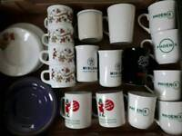 box full of cups mugs and plates £6