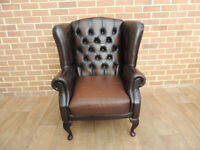 Queen Anne Chesterfield Leather Armchair (UK Delivery)