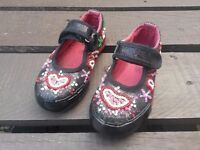 Girls Beaded Glittery Canvas Shoes, UK Size 8