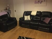 Leather recliner sofa and armchair