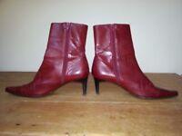 Dark red stiletto pointed L.K. Bennett ankle boots, size 40