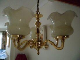 Cast Brass 5 Arm Chandelier