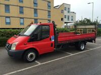 FORD TRANSIT t350 2.4 DIESEL 2007 07-REG 14FT DROPSIDE TRUCK WITH TAIL-LIFT DRIVES EXCELLENT