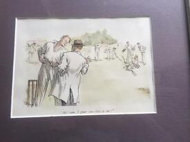Pair of framed cricket prints