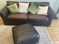 Couch (M&S leather Abby suite) 3 X seater, 2 X seater, chair and foot stool