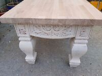 Beautiful French Shabby Chic Distressed Farmhouse Coffee Table With Solid Oak Top