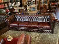Large Four Seat Chesterfield Leather Sofa Couch In Dark Oxblood Red (nearly brown)