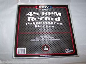 1-Pack-of-100-BCW-Record-Covers-45-RPM-Plastic-Outer-Poly-Sleeves-Holders-New