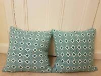 2 Teal Blue Feather Cushions