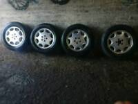 "Mercedes Benz R129 Sl W140 S Class 16"" 8 hole Alloy Wheels set with tyres"
