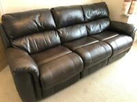 3 Seater Leather Sofa - recliner
