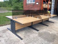 BANK OF 6 HIGH QUALITY WHITE OAK DESKS AND TINTED PERSPEX PRIVACY SCREENS