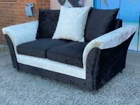 New Zulu 2 Seater Crushed Velvet Sofa In Black and Silver