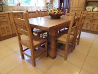 Solid Heavy Plank-Pine Table & Chairs