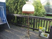 BRASS STYLE STANDARD LAMP WITH LARGE BOUDOIR SHADE (VINTAGE!)
