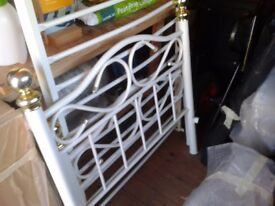"Single white metal 6ft 6"" x 3ft wide bed frame for sale."