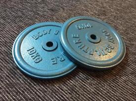 10kg x 2 plate. Bodysculpture. Home weights. Gym. Iron