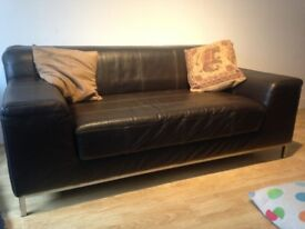 Leather 2 seater settee- very good condition. Dark Brown with chrome frame