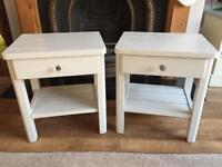 Solid wood 2 x bedside pale grey tables with glass door knobs