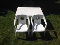 Small table two chairs white plastic Childrens Kids Set - Craft Painting - £20ono