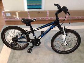 Trek bike, black blue and white.