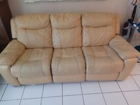 Leather 3 seater cream sofa