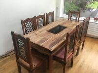 Wood Dining Table + 8 Chairs