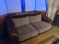 Large sofa (Brown faux leather and grey/black tweed pattern)