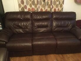 3 Seater Leather electric recliner sofa
