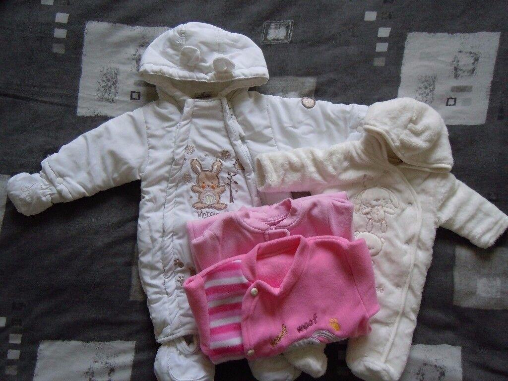Snowsuit, pramsuit, sleepsuits bundle