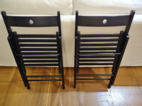 2 x Black Foldable Chairs - Ikea Terje