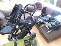 icandy peach pram, carrycot, carseat, 2 isofix bases, all adaptors and raincovers-superb condition